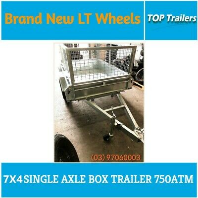 7x4 Galvanised single axle box trailer hot dip fully welded checker plate 750ATM
