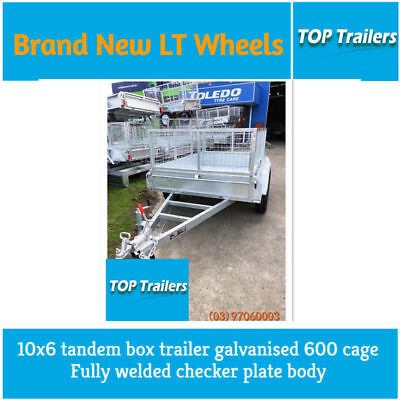 10x6 tandem box trailer galvanised 600 cage fully welded checker plate body