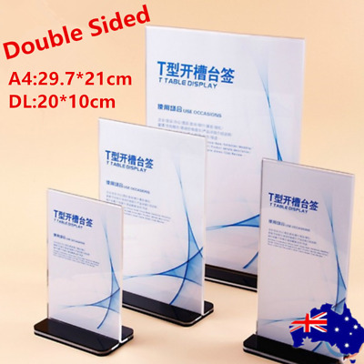 10X DL A4 Size Double Sided Sign Holder Acrylic Retail Display Stands Menu OZ