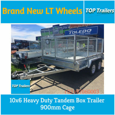 10x6 Heavy Duty Tandem Box Trailer 900mm Cage Fully Weld Checker Plate Body VIC