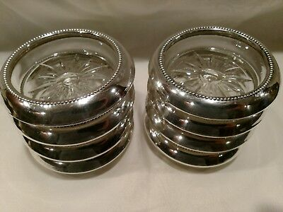 8 (Matching) Antique Sterling Silver Coasters W/ Etched Glass Bottoms
