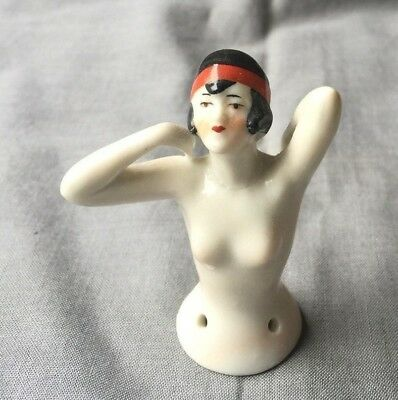 Antique Porcelain Half Doll Pin Cushion FLAPPER marked Germany