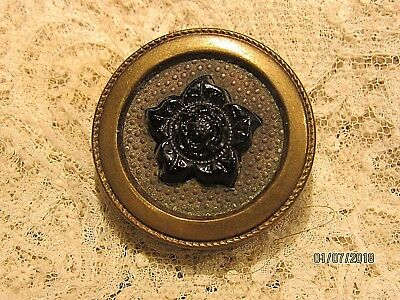 Antique Drum Button Black Glass flower old vintage sewing button mid 1800's