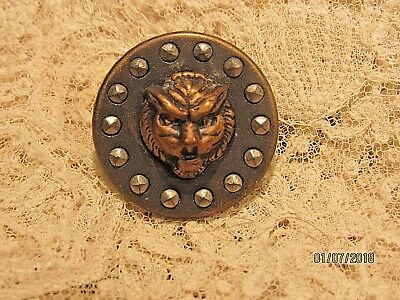 Antique Button Lion Head detail steel cuts old vintage sewing button 1800's