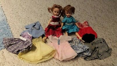 """2 Vintage Uneeda 20"""" fashion dolls with red hair w/ 8 dresses and a coat"""