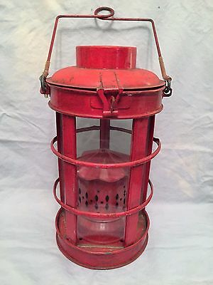 Vintage Chinese Style Cage Metal & Glass Panel Red Hanging Oil Lamp