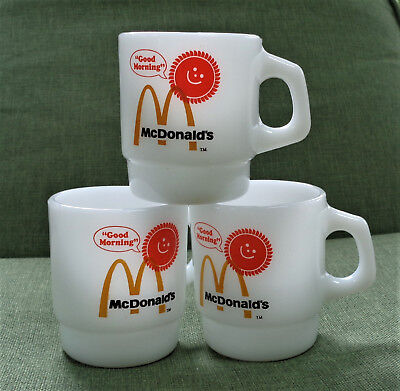 3 Vtg McDonalds GOOD MORNING Sunshine FIRE King GLASS Coffee MUGS Cups