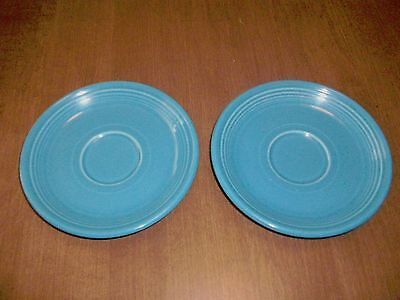 "HLC Fiesta 6 "" Coffee SAUCERS Replacements Peacock Blue Lot of 2"