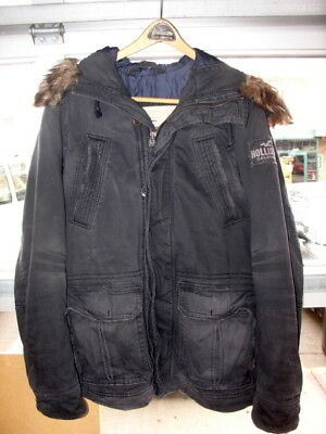 Ambercrombie and Fitch Hollister San Clemente Black Hooded Parka, Size Medium