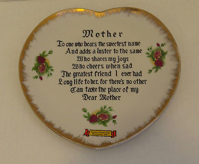 MOTHER POEM Heart Shaped Collector Plate