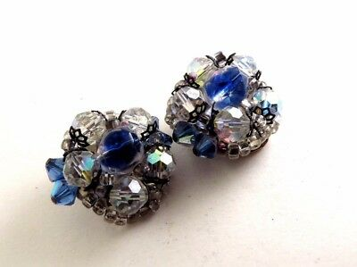 Vintage Cluster Earrings Clear Blue Glass Crystals D459