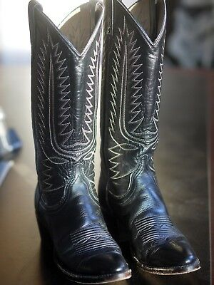 Vintage Dan Post Womens 6 A Narrow Leather Black Ladies Cowboy Boots Western USA