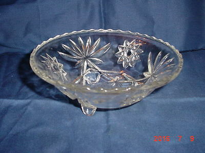 vintage Anchor Hocking EAPG STAR of DAVID 3-footed Candy/Condiment Bowl