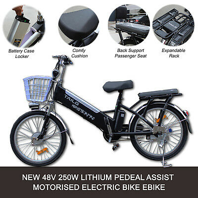 NEW Black 250W 48V Li-ion Battery Black City eBike e-Bike Electric Push Bicycle