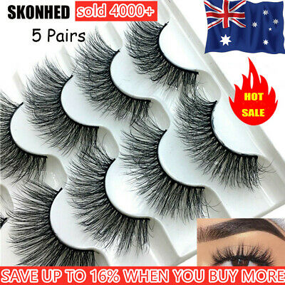 SK 5 Pairs 3D Mink Hair False Eyelashes Wispy Fluffy Long Thick Lashes Beauty