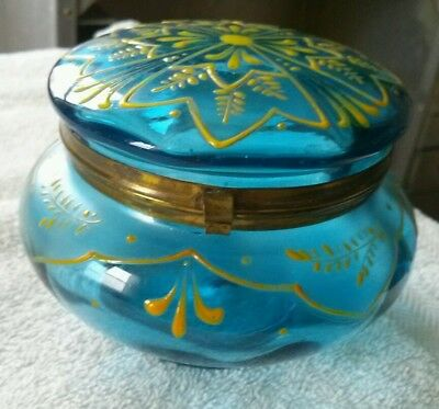 EXQUISITE ANTIQUE VICTORIAN BLUE GLASS w/ YELLOW ENAMEL PAINT POWDER JAR