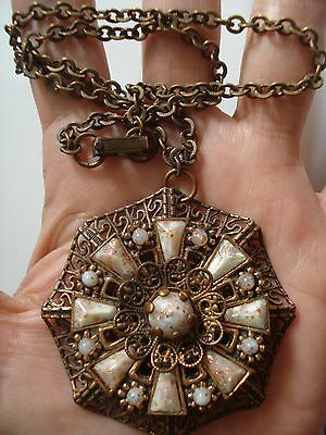 Rare Vtg Gift~Huge Victorian French Antique Copper Pendant 16 Necklace~Free Ship