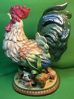"""Fitz And Floyd Coq Du Village Retired Classic 14.5"""" Ceramic Rooster"""