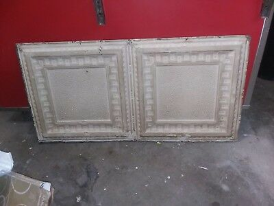 "Antique Metal Tin Ceiling Tile 48"" X 24"" Sheet Panel Reclaim Salvage"