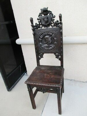 19Th Century Renaissance Carved Hall Chair W/ Knight & Maiden Foliage Cartouche