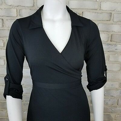 Old Navy Maternity Dress Size S Black Stretch Wrapped Waist 3/4 Sleeve Career