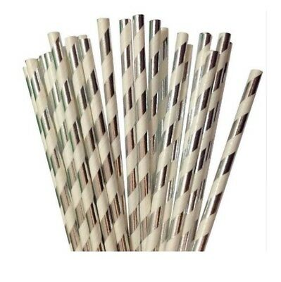 25 Silver Foil Drinking Straws Metallic Paper party Christmas Valentines Day