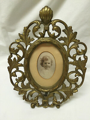 Lovely Antique Ornate Cast Brass Picture Frame
