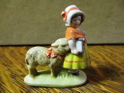 Victorian Bisque Figural German Cake Decoration Lil Bo Peep Or Mary Had A Little