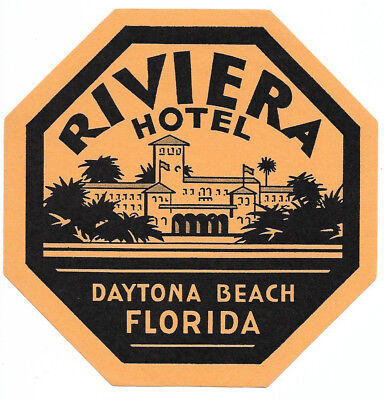 Riviera Hotel Daytona Beach Florida Original Antique Vintage Luggage Label