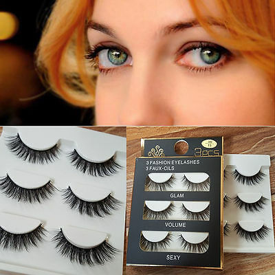 3 Pairs Faux Mink Natural Thick Eye Lashes Makeup Extension False Eyelashes C-15