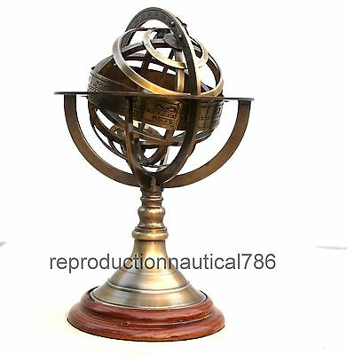 Antique Brass World Globe Armillary With Wooden Base Nautical Collectible Decor