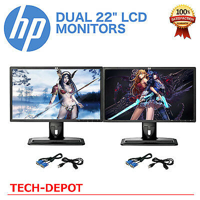 """DUAL Matching 22"""" Widescreen LCD Monitors w/ cables Gaming / Office - LOW PRICE"""