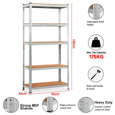 0.9x1.8M Warehouse Storage Racking Garage Shelving Shelves 5 Tier Boltless Shelf