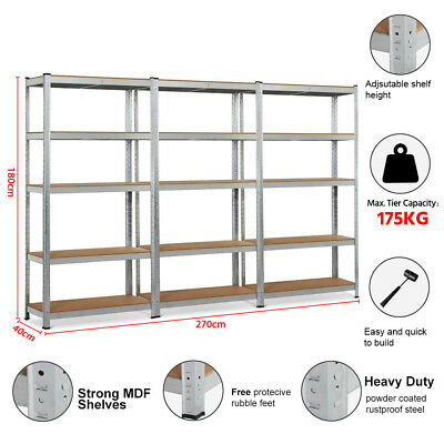 3x 90cm Steel Garage Warehouse Rack Storage Shelves Metal Shed Shelving