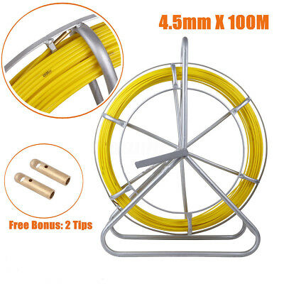 US 100M Fish Tape Fiberglass Wire Cable Running Rod Duct Rodder Fishtape Puller