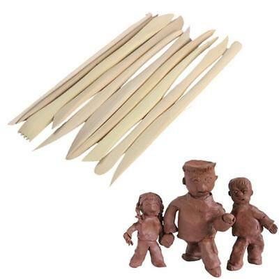 10PCS Wooden Clay Sculpture knife Pottery Sharpen Modeling Tools Set DIY UK