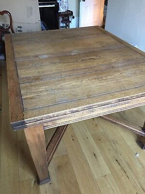 Antique Golden Oak Chunky Square Draw Leaf Extending Dining Table Christmas
