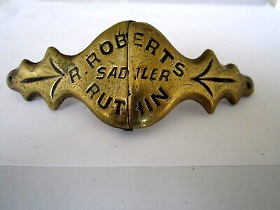 antique advertising horse brass hinged nose-band ROBERTS  RUTHIN   WALES
