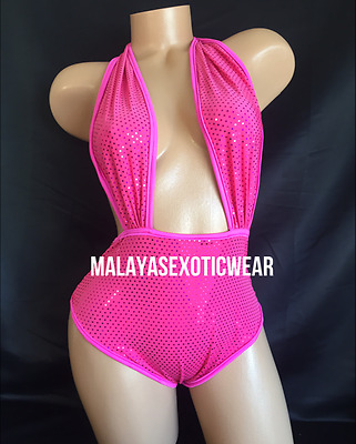Exotic Dancer Stripper UV Glow Sparkle High Waisted Romper Dancewear