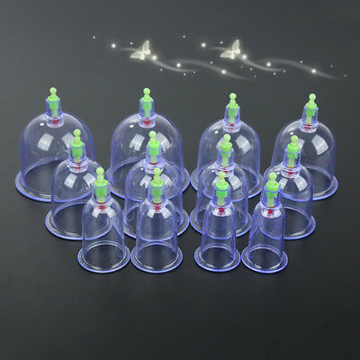 12 Cups Medical Chinese Vacuum Cupping Body Massage Therapy Healthy Suction EKO