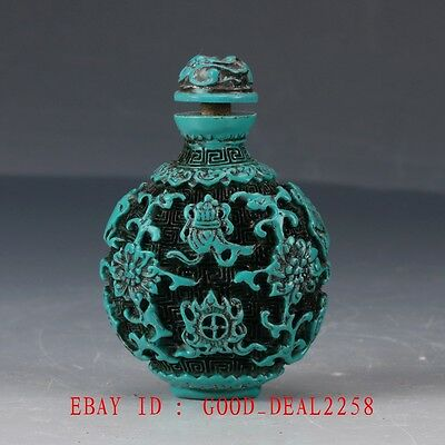 Chinese Turquoise Hand Carved Fish & flower Snuff bottle BYH24