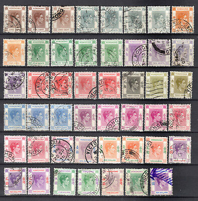 Hong Kong China 1938 Kgvi Full Set Of Used Stamps Pmk Interest With Shades