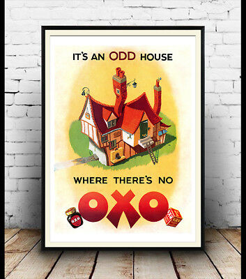 Oxo , it's a odd house , Vintage advertising Reproduction poster, Wall art.
