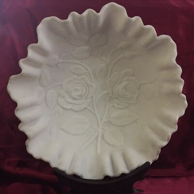 Vintage Imperial Rose Patterned Milk Glass Bowl With Scalloped Edge