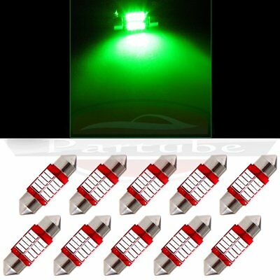 10x 31mm Festoon Green Car LED Dome Map Bulb Interior 4014 10SMD Lights Lamp 12V
