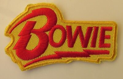 David Bowie Brand New Shaped Sew / Iron On Woven Patch Small Size Ziggy Stardust