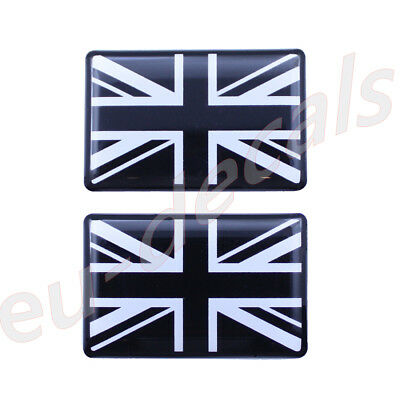 2X Black & White Union Jack flag 3D Decal domed 35X22mm for Triumph tiger