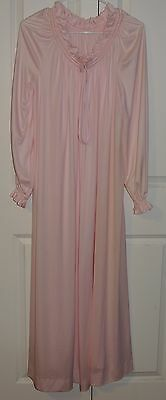 "Lucie Ann Open Robe Pink 48"" Long Gathered Neck Sleeves Loop Tie Classic Vintage"