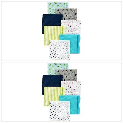 Simple Joys by Carter's Baby Boys' 7-Pack Flannel Receiving Blanket, Blue/White,
