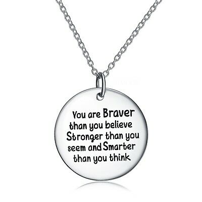 """Sterling Silver Inspirational Pendant Necklace """"You Are Braver ThanYou Believe"""